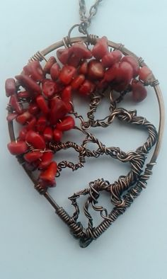 Tree of life pendant ,Handmade copper wire pendant Tree of life, Copper necklace,Tree of life with red Coral chips by Tangledworld on Etsy https://www.etsy.com/listing/221367210/tree-of-life-pendant-handmade-copper