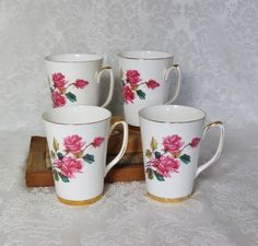 "Windsor Bone China Mugs ""Roses""/ Made in England/ Shabby Chic/ Tea Cup/ Mid Century Modern Dinnerware/ Cottage Chic by TwoCousinsCollection on Etsy"