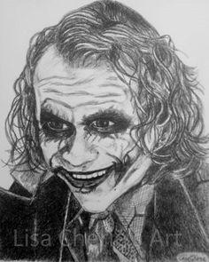 The Joker ~ Heath Ledger ~ The Dark Knight ~ Original Celebrity Portrait Drawing ~ Heath Ledger portrait art, The Joker portrait art by OurArtyCreations on Etsy Joker Sketch, Joker Heath, Heath Ledger, Celebrity Portraits, Dark Knight, Portrait Art, Famous People, The Darkest, Character Art