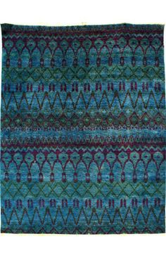 Rugs USA Bohemian Collection Urbane Blue Rug---I prefer a patterned rug to a plain one.