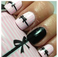 White, pink and black striped and now mani