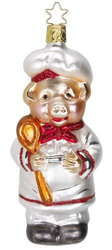 Chef Pig Christmas Ornament by Inge-Glas of Germany