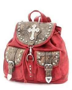 Red Faux Leather Western Rhinestone Cross Backpack.  $49.99            Look great wearing this fabulous western rhinestone cross backpack with great features such as Front Magnetic Snap Pocket, Included Adjustable Shoulder Strap, Metal Feet on the Bottom, Open & Zippered Pockets Inside, Rear Zipper Pocket, Zipper Closure, Top Flap Link Closur...