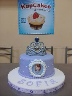 SOFIA THE FIRST CAKE Sofia The First Birthday Cake, First Birthday Cakes, Birthday Cake Girls, One Tier Cake, Single Tier Cake, Princess Sofia Cake, Just Cakes, Novelty Cakes, Girl Cakes
