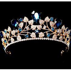 Luxury Big Baroque Bridal Crowns Blue Crystal Bridal Tiara Bridal Headpiece Wedding Headband Wedding Hair Accessories