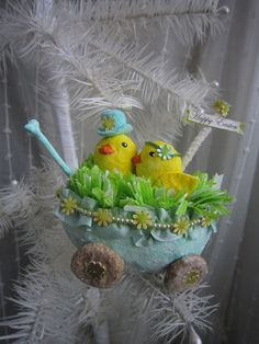 """""""Spring Chick Love"""" spun cotton ornament for Easter in my Etsy Shop"""