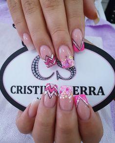Glow Nails, Fun Nails, Luxury Nails, Short Nail Designs, Acrylic Nail Art, Nail Spa, Gorgeous Nails, Short Nails, Beauty Nails