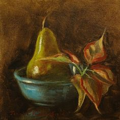 Jonelle Summerfield Oil Paintings: Green Pear and Poinsettia