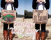 PDF Sewing Pattern Burlap Tote Bag Instant by SquirmyWormStudio Burlap Coffee Bags, Coffee Bean Bags, Coffee Sacks, Coffee Beans, Burlap Projects, Burlap Crafts, Burlap Purse, Burlap Sacks, Hessian