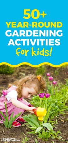 50 Year-Round Gardening Activities for Kids. Great list for all seasons! Garden Show, Garden Club, Outdoor Learning, Outdoor Play, Diy Garden Projects, Projects For Kids, Garden Ideas, Outdoor Classroom, Easy Garden