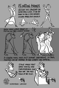 """Tuesday Tips - Floating Hands  I use this a lot when storyboarding a first pass of a sequence. Placing hands in the right, most appealing position can be tricky. In order to create a clear silhouette for the hands, I often draw them """"floating in the air"""". Then, using my general knowledge of anatomy, I just """"fill in the arms""""."""