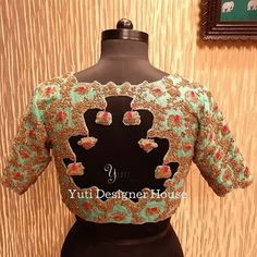 Elephant and Peacock embroidered cutwork Blouse by YUTI! Delivery in 2 days only at YUTI! For Orders and Queries reach us at or Address: Moosa street, TNagar, Chennai. Stylish Blouse Design, Fancy Blouse Designs, Bridal Blouse Designs, Maggam Work Designs, Pattu Saree Blouse Designs, Designer Blouse Patterns, Work Blouse, Blouse Styles, Maggam Works