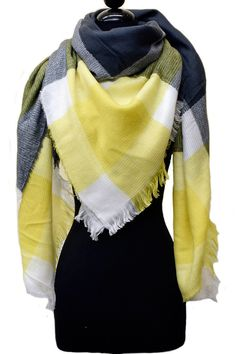Yellow and Gray Plaid Blanket Scarf