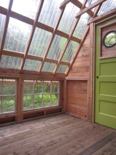 deeks tiny cabin 03 A DIY Micro Cabin in the Woods You Can Build - OR a cute greenhouse design. Tiny Cabins, Tiny House Cabin, Cabins And Cottages, Tiny House Living, My House, Rustic Cabins, Log Cabins, Yurt Living, Shed Cabin