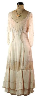 (Victorian) Whisper Dress    Sheer chiffon, intricate embroidery and scalloped edging follow the flattering princess seams. Double hem. $199.95