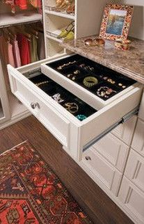 Master closet Walk-in Closet Double Jewelry Drawer - traditional - closet - new york - by transFORM Closet Drawers, Closet Storage, Closet Organization, Organizing Jewelry, Wardrobe Storage, Drawer Storage, Closet Doors, Jewelry Organization, Organization Ideas