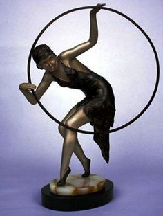 Marble & Spelter  ' Hoop Dancer '  by Limousin of France - 1930