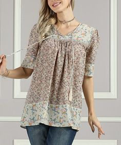 Look what I found on #zulily! Taupe Floral Tassel-Accent V-Neck Tunic - Women & Plus #zulilyfinds