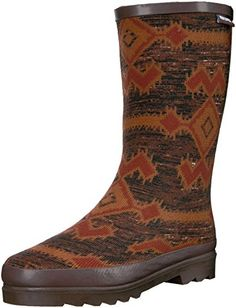 Muk Luks Womens Tall Annabelle Zig Zag Rainboot Rain Boot Brown 8 M US -- This is an Amazon Affiliate link. You can get more details by clicking on the image.