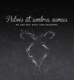 """Pulvis et umbra sumus. It's a line from Horace. 'We are dust and shadows'."