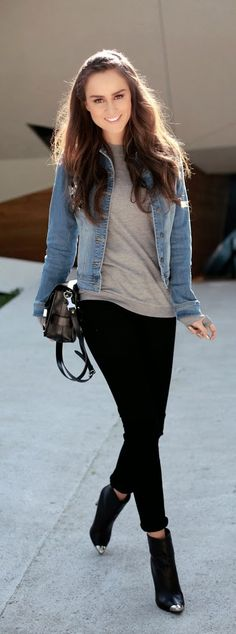 Denim Jacket with Black and Grey Simple Outfits | ...