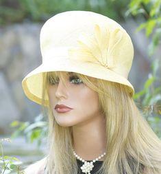Venta de sombrero. Boda sombrero, amarillo sombrero Cloche de las mujeres, té sombrero Downton Abbey sombrero Miss Fisher sombrero, 1920s 1930s vintage sombrero, sombrero de Derby, sombrero Formal,