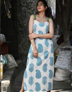Give your closet a makeover with this stylish block print cotton slip dress. Perfect dress for this summer, make it classy and stylish by pairing it with a nice flip flop or sandals and make it a perfect look for your day out. Summer Outfits, Casual Outfits, Summer Dresses, Maxi Dresses, Western Wear Dresses, Cotton Slip, Printed Kurti, Block Dress, Fashion Dresses