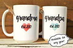 New GRANDMA or GRANDPA Mugs Established year and by BabyCakeLane