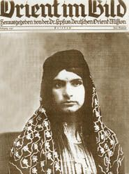 The Armenian genocide resulted in the kidnapping of thousands of Armenian women from their families.  Some were integrated into Muslim family life, losing their native language and ethnicity.  The tattoos were consistent with local customs.   - See more at: http://www.genocide-museum.am/eng/online_exhibition_2.php#sthash.761JJ0Md.dpufIslamized and tattooed Armenian woman