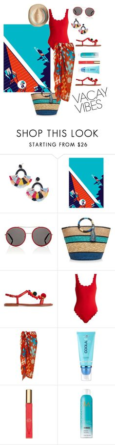 """""""Vacay Vibes"""" by bronte89 ❤ liked on Polyvore featuring BaubleBar, Gucci, Rebecca Minkoff, Dolce&Gabbana, Marysia Swim, MEDLEY CREATIONS, COOLA Suncare, Kate Spade and Moroccanoil"""