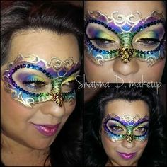 Mardi Gras mask with make up and face jewels. Mask Makeup, Costume Makeup, Adult Face Painting, Body Painting, Masquerade Makeup, Masquerade Masks, Mask Face Paint, Carnival Makeup, Mardi Gras Costumes