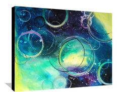 I found 'Abstract Bubble Painting Circles Blue and Yellow Bathroom Painting Original Purple and Green Painting on Stretched Canvas Wall Art 30x24 Day' on Wish, check it out!