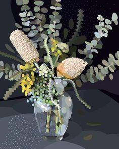 BLOOM series~ Illustration by Kimmy Hogan VIA Greenhouse Interiors Australian Wildflowers, Australian Native Flowers, Painting Inspiration, Art Inspo, Greenhouse Interiors, Floral Artwork, Guache, Botanical Art, Illustrations