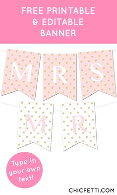 Free Printable Glitter Polka Dot Banner from @chicfettiwed - perfect for weddings or parties!