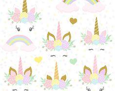 Tête de licorne licornes clipart, or paillettes licornes, album Unicorn, licorne clipart, clipart arc en ciel, Unicorn Digital Pack papier