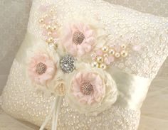 Ring Bearer Pillow  Bridal Pillow in Ivory and Blush by SolBijou, $110.00