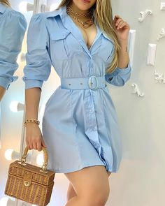Shirtdress Outfit, Dress Outfits, Casual Outfits, Fashion Dresses, Cute Outfits, Girl Outfits, Office Dresses For Women, Clothes For Women, Blue Long Sleeve Dress