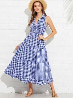 SheIn offers Collared Wrap Front Gingham Tiered Dress & more to fit your fashionable needs. Stylish Dresses, Cute Dresses, Summer Dresses, Chic Dress, Dress Skirt, Pretty Outfits, Beautiful Outfits, Frock For Women, Dress Outfits