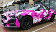 Custom Pink Camo Wrap Pink Camouflage Pink Black and white Camo Breast cancer Awareness Month Mustang wrap Awesome car ideas for girls Fort worth texas Pink Mustang, Mustang Stripes, Mustang Fastback, Mustang Cars, 2017 Mustang, Camo Truck, Best Cars For Teens, Vinyl Wrap Car, Top Luxury Cars
