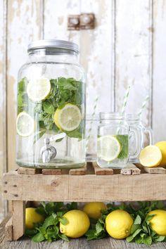 Lemon, mint and alkaline water