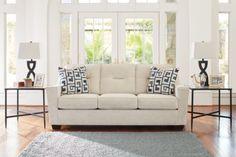 Cerdic Cream Sofa, ASHLEY Furniture Homestore, Atrium, Dartmouth, NS Modern Contemporary Homes, Contemporary Interior Design, Cream Sofa, Love Seat, Upholstery, Living Room, Cushion, Furniture, Arms