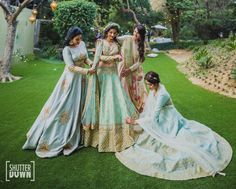 Sangeet Lehengas - Bride and her Bridesmaids in Light Pastel Shade Lehengas | WedMeGood #wedmegood #indianbride #indianwedding #bridal #lehengas #lehenga #matsya #sangeetlehengas #lightlehengas