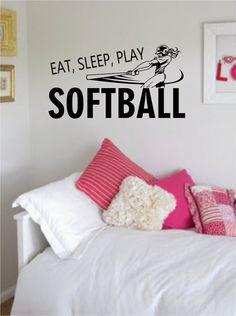 Eat Sleep Play Softball Version 2 Sports Decal Sticker Wall Vinyl
