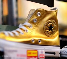 Converse gold Hightops. Contact me if you know where to get size ten Men's.