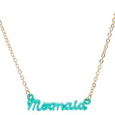 Add a splash of fun style to your outfit with this necklace. Mermaid spelled out in green cursive hangs from a thin gold-tone chain. Display your love of mermaids and jewelry.
