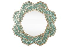 """Lucy Mother of Pearl Wall Mirror  36"""" in diameter"""