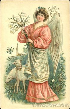 Angel holding lilies on hillside with two lambs With Angels