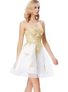 Rochie alba cu broderie aurie RK34 Strapless Dress Formal, Prom Dresses, Formal Dresses, Swarovski, Rose, Fashion, Tulle, Hairdos, Embroidery
