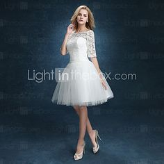 A-line Wedding Dress - Reception Little White Dresses Knee-length Bateau Lace / Tulle with Appliques 2016 - $69.99
