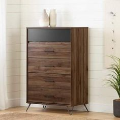 South Shore Olvyn Natural Walnut and Charcoal Finish Chest (Natural Walnut and Charcoal), Brown Modern Decor, Storage Spaces, South Shore Furniture, 5 Drawer Chest, Furniture, Stylish Storage, Natural Walnut, Trent Austin Design, Bedroom Storage